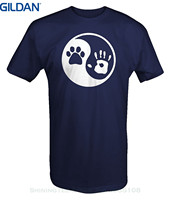 GILDAN 2017 New 100 Cotton Top Quality Paw Hand Print Yin Yang Dog Animal Rescue Adopted