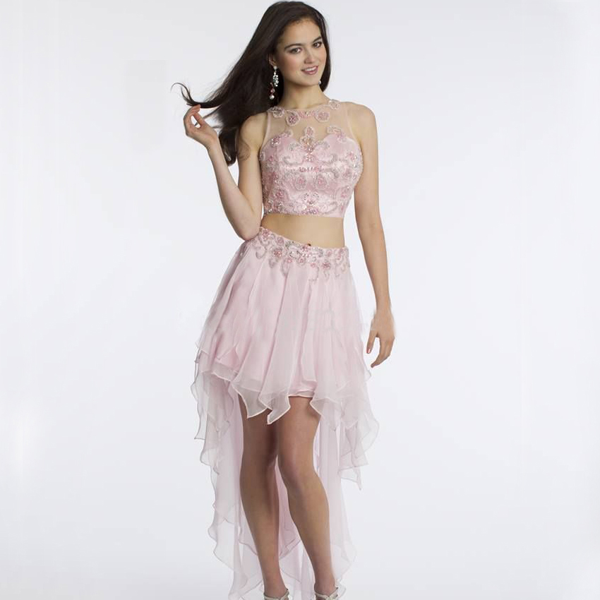 a36edb9af43 Delicate Beaded Emboridery Crop Top Ruched High Low Short 2 Piece Prom  Dresses 2015 Homecoming Cocktail Dresses Vestidos P928K