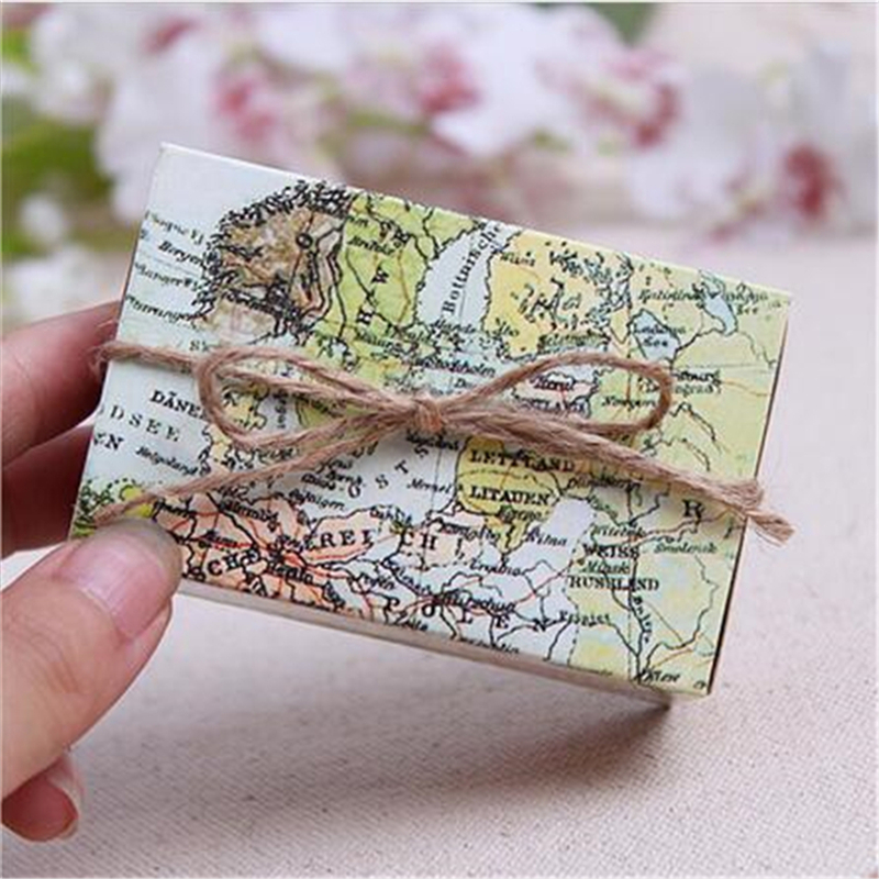 Cheapest 5Pcs/Lot World Map Wedding Favors Boxes Wedding Candy Box Wedding Favors And Gifts Event & Party Supplies image