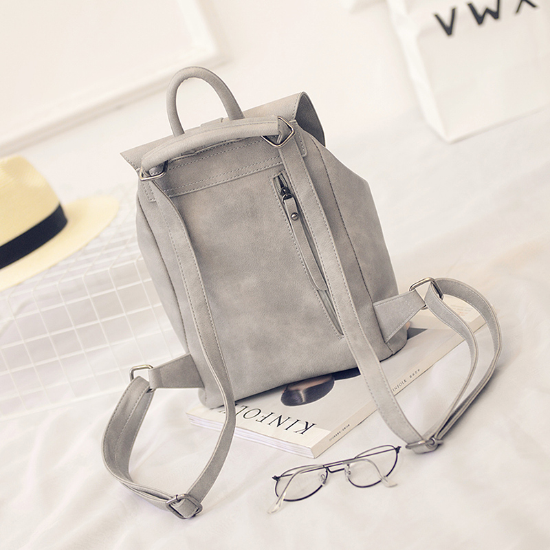 Toposhine Famous Brand Backpack Women Backpacks Solid Vintage Girls School Bags For Girls Black Pu Leather Women Backpack 1523 #4