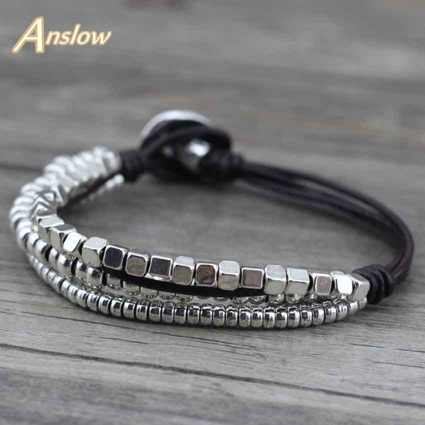 Anslow Fashion Silver Zink Alloy Leather Wrist Friendship Stort bredt armbånd for menn spenne Vintage Punk smykker LOW0396LB