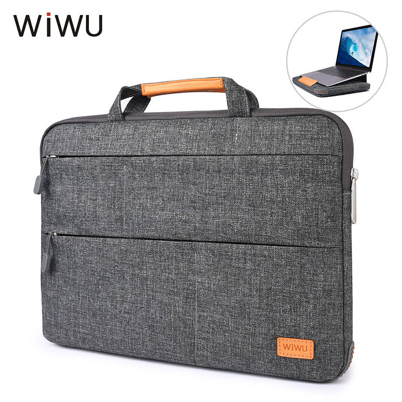 WIWU Magnetic Stand Laptop Bag For New Macbook 13 inch Waterproof Nylon Sleeve Case Handbag For Xiaomi Air Pro 15 Notebook Bags wiwu waterproof laptop bag case for macbook pro 13 15 air bag for xiaomi notebook air 13 shockproof nylon laptop sleeve 14 15 6