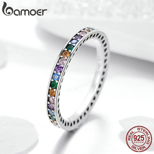 BAMOER Genuine 100% 925 Sterling Silver Colorful CZ Crystal Round Pave Finger Rings Engagement Wedding Jewelry Gift S925 SCR392