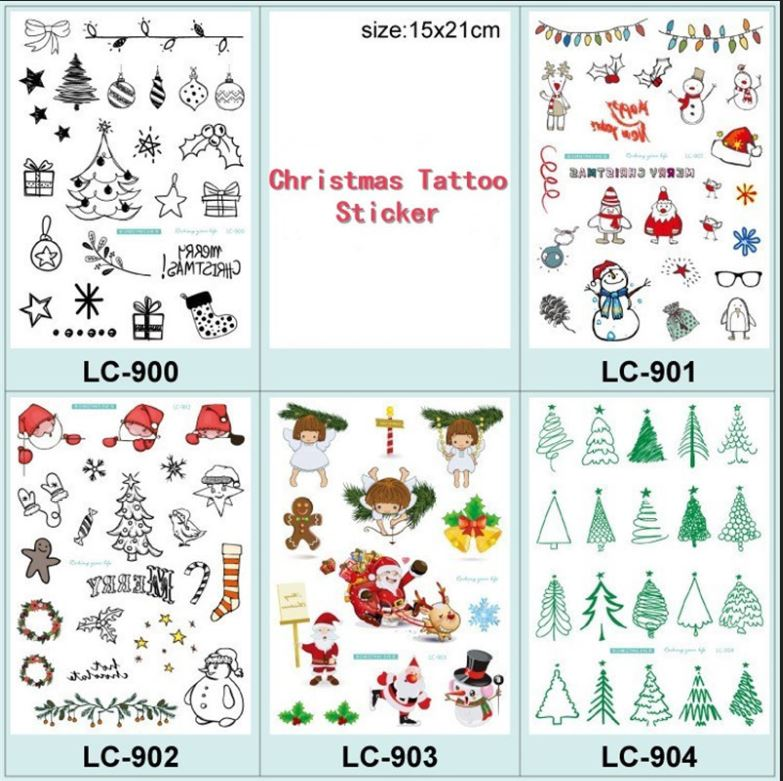68c4304c1 2018 New Fashion Christmas Tattoo Sticker Holiday Mini Kids