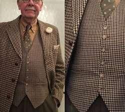 2019 Хаундстут Жилет шерстяной коричневый британский жених жилеты Винтаж мужские жилет выпускного вечера жениха Свадебная жилетка дизайн
