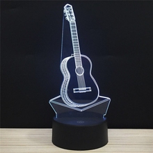 LED 3D Guitar Musical Instrument NightLight Acrylic Night Lamp Light Luminary With Touch And Remote Lamps Lights Kids Decoration