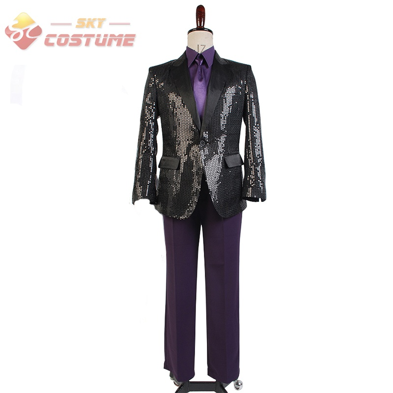 Daft Punk Sparking Black Sequin Performance Outfits Robot Cosplay Costume Purple Version Full Set