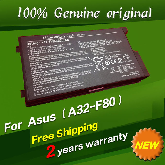 Frete grátis A32-F80 A32-A32-F80A f80h 15G10N345800 Bateria do laptop Original Para asus f8 f80 f80h f80a f80q f80l f81 f83 n80 F50