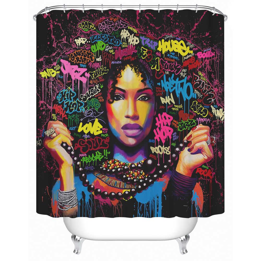 Хип-хоп мода девушка с большой черные волосы плед настолько очаровательный африканских девушка ткани Ванная комната Душ Шторы для дома ванна Декор