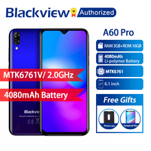 Телефон Blackview A60 Pro на базе Android 9,0, 3 ГБ ОЗУ 16 Гб ПЗУ, смартфон с экраном 6,088 дюйма на весь экран, четырехъядерный процессор MT6761V, 8 Мп, мобильный телефон