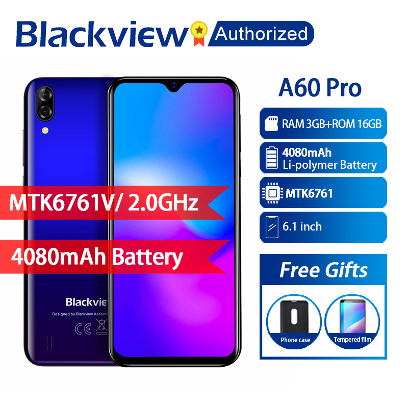 Blackview A60 Pro Phone Android 9.0 3GB RAM 16GB ROM Smartphone 6.088 Display Full Screen MT6761V Quad Core 8MP Mobile PhoneBlackview A60 Pro Phone Android 9.0 3GB RAM 16GB ROM Smartphone 6.088 Display Full Screen MT6761V Quad Core 8MP Mobile Phone