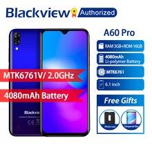 """Blackview a60 pro telemóvel android 9.0, 3gb de ram 16gb rom 6.088 """"tela cheia mt6761v quad tela smartphone core 8mp, telefone celular"""