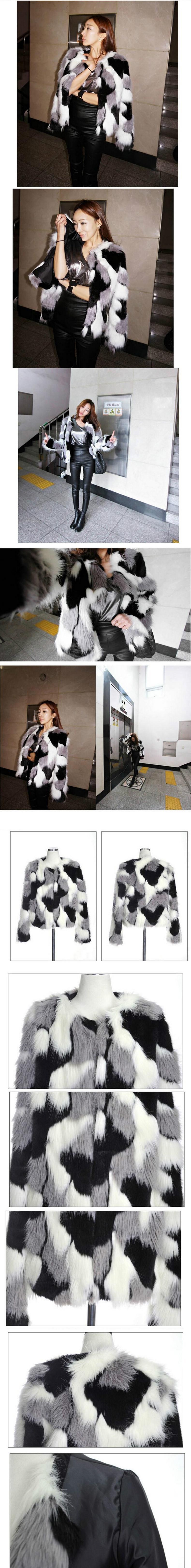 Women Mixed Color Man-Made Fur Jacket Casual Plus Size Faux Fur Coats Female Short Section Fur Outwear Casaco De Pele Falso Ck43 2