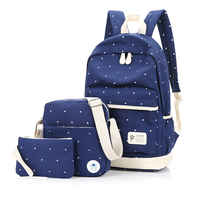 3Pcs Sets Korean Casual Women Backpacks Canvas Book Bags Preppy Style School Back Bags For Teenage
