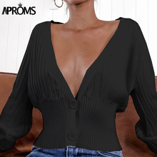 Aproms Sexy Ribbed knitted Cropped Sweaters Women Autumn Winter Green Long Sleeve Button Knit Warm Cardigans Jumper Pull 2019 ribbed hooded knit jumper