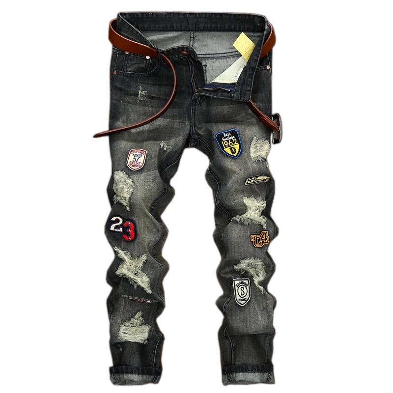 ФОТО Europe and the United States Men badge  Do old Self-cultivation Straight Holes jeans