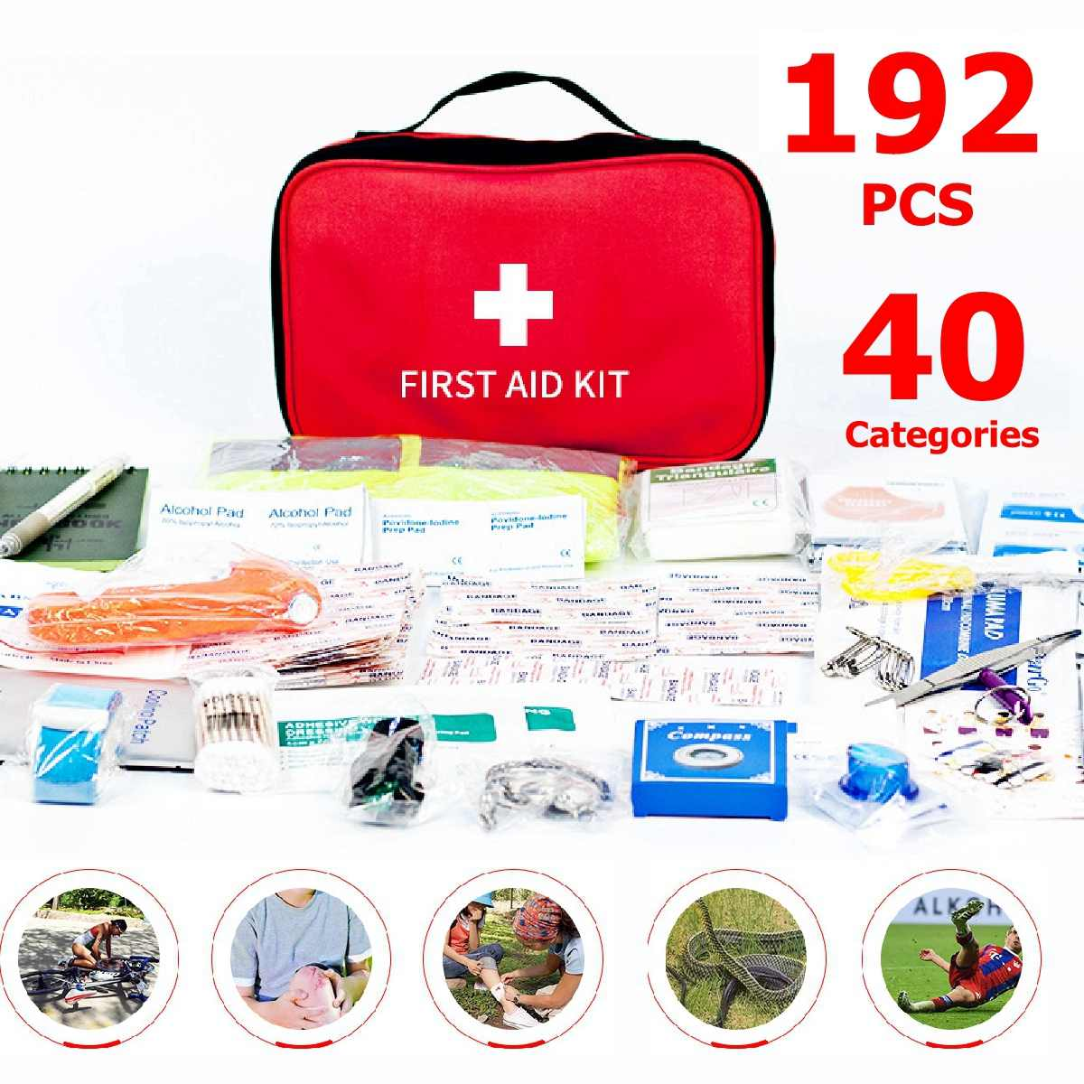 192pcs Mini Safe Camping Hiking Car First Aid Bag Kit Medical Emergency Kit Treatment Pack Outdoor Wilderness Survival