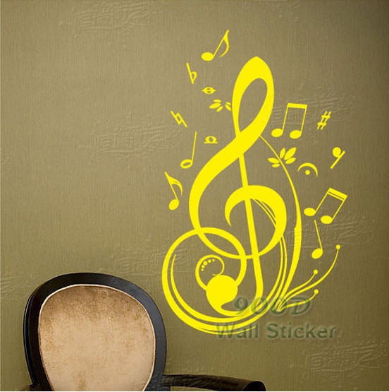 music note wall sticker removable vinyl wall decal home. Black Bedroom Furniture Sets. Home Design Ideas