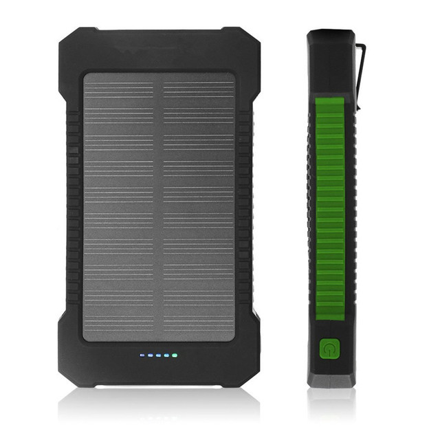 NEW arrival Dual USB Waterproof 12000mAh Solar power bank Shockproof Solar Battery Charger mobile battery sun external battery
