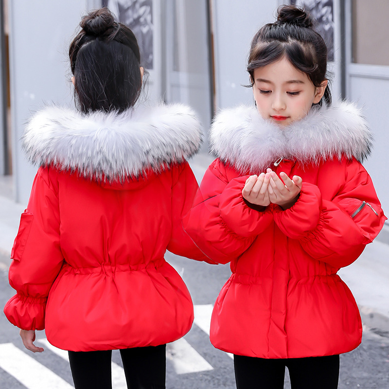 Girl winter coat 2018 new jacket large fur collar long thick winter jacket girls child coats outwears warm for cold winter 2017 new fashion winter parkas large fur collar hooded jacket loose cotton coat thickened student long coat female outwears