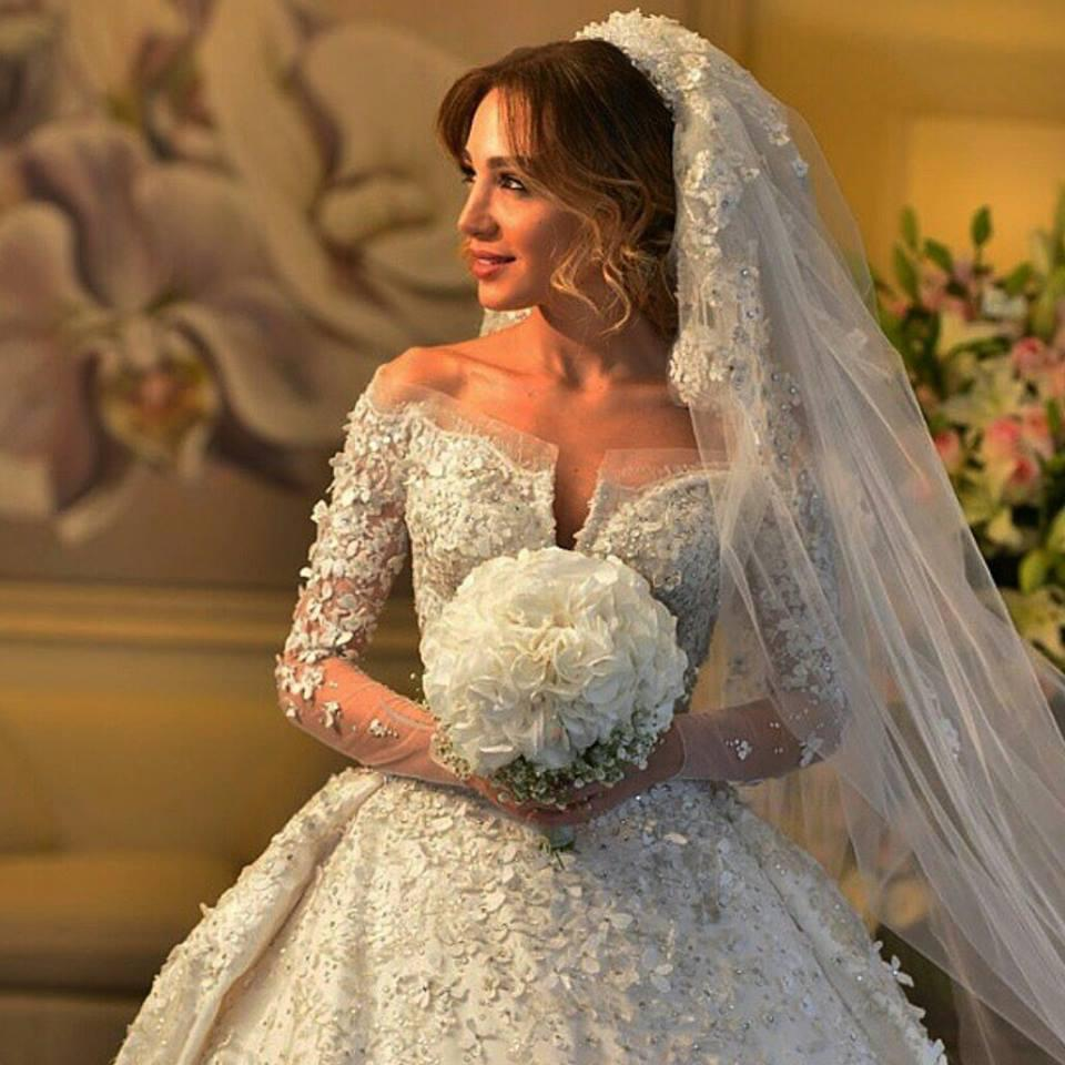 A 618 romantic long sleeves wedding dress off the shoulder for Wedding dress made of flowers