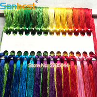 Sanbest High Quality 28 Colors Mercerized Bright Shiny Effect Cross Stitch Thread Embroidery Threads Waving DIY