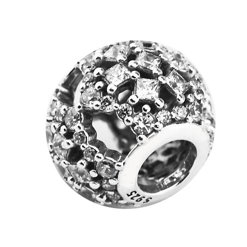 Authentische 925 Sterling Silber Schnee Flut Charme Perlen Mit Klar Cz Für Schmuck Machen Fit Armbänder Diy Feine Schmuck Yl633