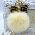 1Pcs Fur pom pom Keychain Fluffy Faux Rabbit Fur Ball Bowknot Charm Car Keychain Handbag Key Ring Colorful key chain Women Feida