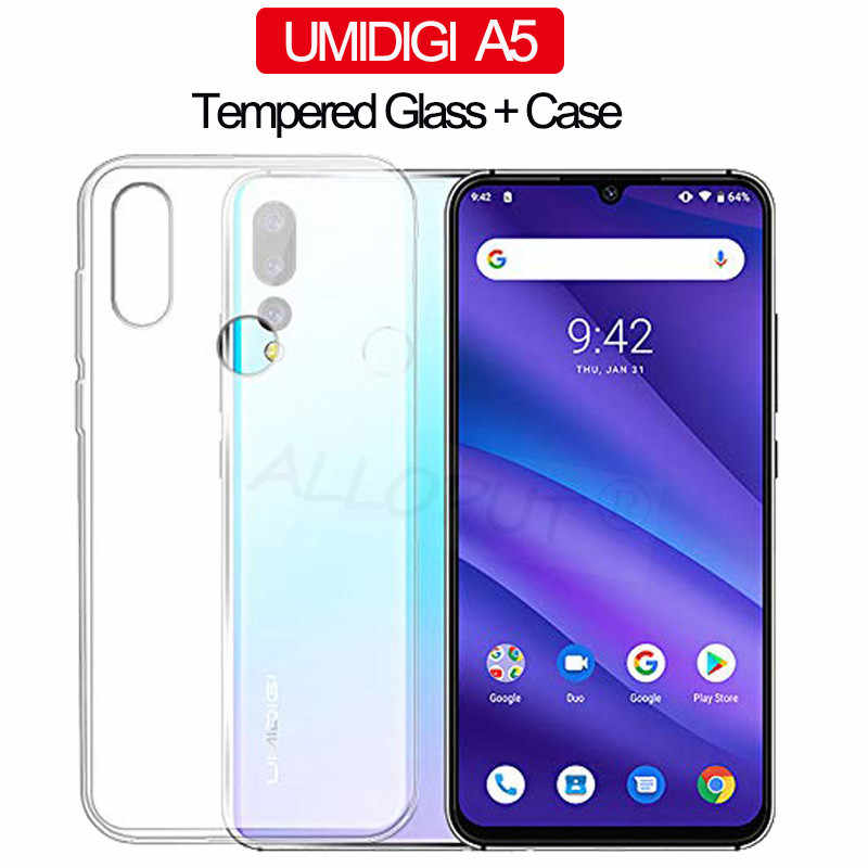 ALLOPUT Soft Silicone TPU Glass+Case For UMIDIGI A5 Pro F1 Play Case Shockproof 360° Full Cover UMIDIGI A5 Protective Cases