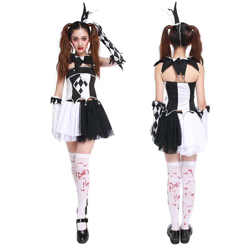 Halloween Costume For Women Adult Girls Terrify Creepy Clown Cosplay ...