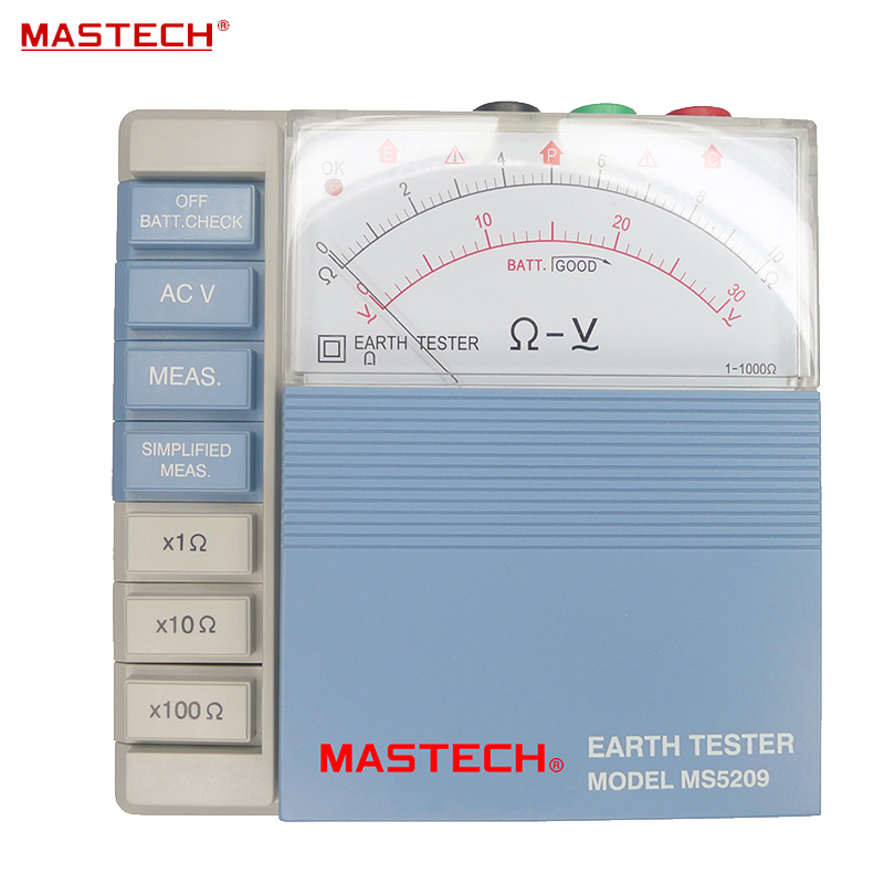 Pointer Ground Resistance Tester Analog Earth Resistance Tester Meter 10ohm to 1000ohms Low Power MASTECH MS5209 тестер сопротивления amber at511a dc low resistance tester upper and lower limits of sorting 10 29 99k at511a 10 29 99k