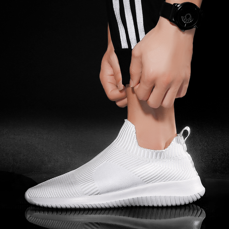 Solid White Fashion Knitting Casual Shoes Men Super Light Breathable Stretch Socks Sneakers Slip On Tenis Masculino Black 4
