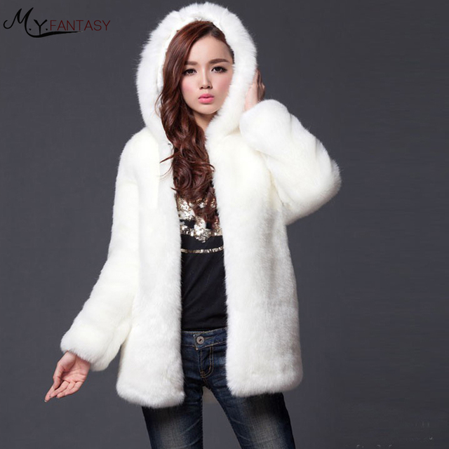Faux Fur Coat Women Slim Winter Long Coat With Fur Hood Warm Comfortable  Black White Fur 726d75cac