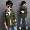 New Autumn Baby Boys Clothes Children Coat Boys Amy Green Five Star Trench Kids Clothes Drawstring Brand Windbreaker Outwear