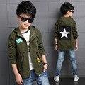 Nuevos Bebés del Otoño Ropa de Los Niños Muchachos de la Capa Amy Verde de Cinco Estrellas Zanja Niños Ropa Cordón Marca Rompevientos Outwear