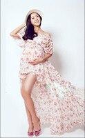 2016 Adereços Fotografia Flores Impressão Maxi Vestido De Maternidade Grávida Vestido de Maternidade Fantasia Tiro Foto Vestido Maxi