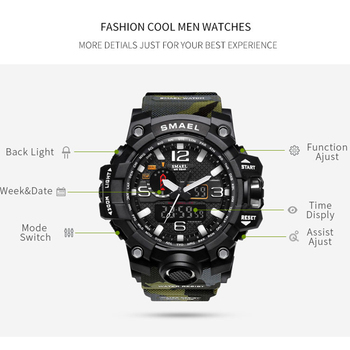SMAEL Brand Camouflage Men's LED Sport Dual Display Waterproof Quartz Watches 1