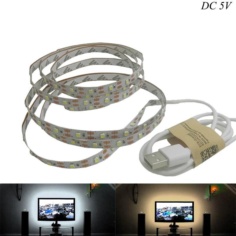 LED Strip USB SMD3528 Lights 50CM 1M 2M 3M Cable LED 5V USB Strip Light TV Background Lighting Non Waterproof Holiday Lights