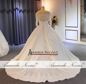 Image 5 - Vestido דה noiva 2019 באיכות גבוהה עם מחיר טוב אמיתי עבודה סאטן חתונה שמלה