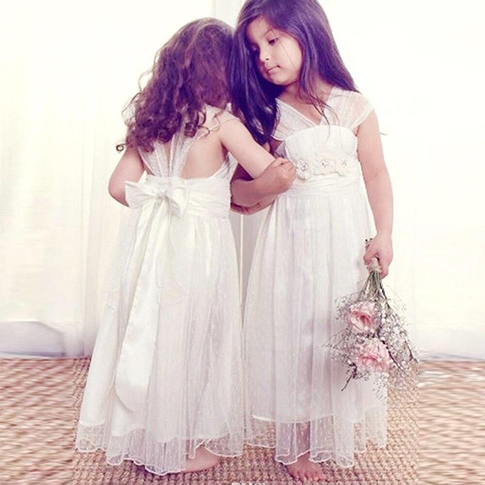 Bbonlinedress A-line Floor-Length V-neck Cap Sleeves   Flower     Girl     Dresses   2019 with Bowknot Beading   Flowers   Wedding Party   Dresses