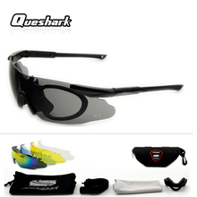 Queshark Professional Cycling Sunglasses Military 3/5 Lens S