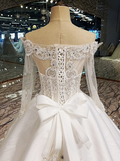Luxury wedding dress for bridal beading ball gown long sleeves lace wedding gowns vestidos de noivas real photos 2018