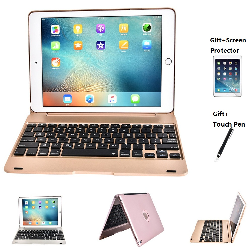 Folding Laptop Wireless Bluetooth Keyboard Cover Case For iPad Pro 9.7 inch iPad Air 1 2 New iPad 2017 2018 9.7 Screen Protector bluetooth v2 0 wireless 78 key keyboard for ipad ipad 2 the new ipad white silver