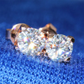 Queen Brilliance Genuine18K 750 Rose Gold Screw Back 1 Carat ct F Color Test  Positive Lab Grown Moissanite Diamond Earrings