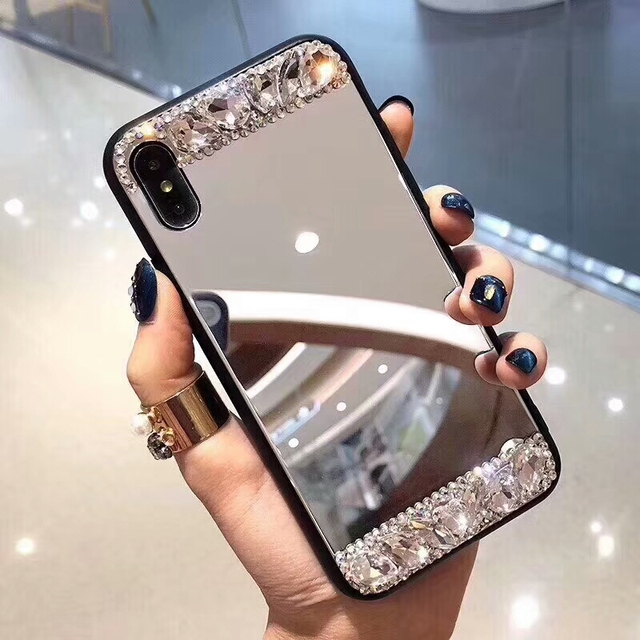 low priced 9bd89 ed64d US $5.99 |Dir Maos For iPhone Xs Max Mirror Case Xr X 8 7 6 6s Plus Women  Cover Bling Silver Make Up Mirror Clear Diamond Cute Girly Lady-in Fitted  ...