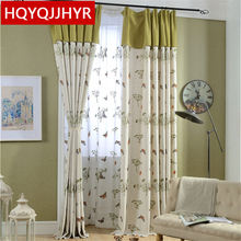 Custom high-grade pastoral Cotton Linen butterfly embroidery Blackout curtains for Bedroom kitchen Window curtain Living Room