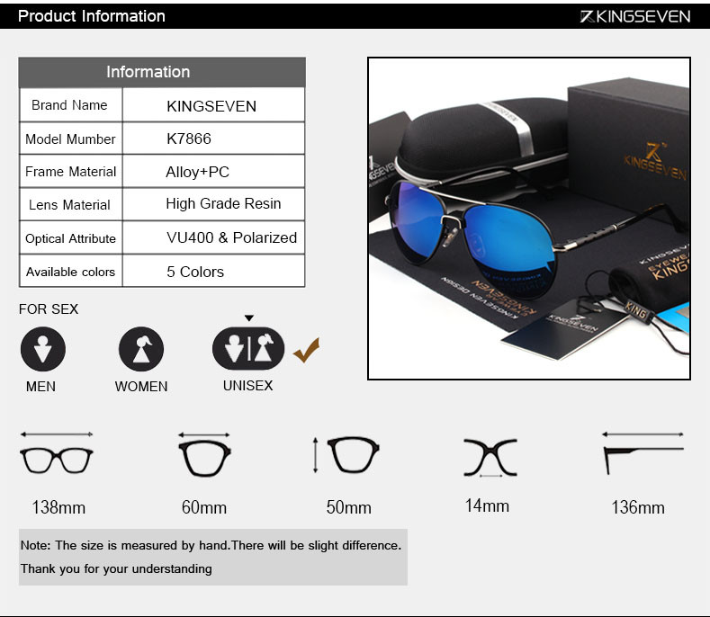2016 New Arrival KINGSEVEN Polarized Sunglasses Men/Women Brand Designer Male vintage Sun Glasses gafas oculos de sol masculino 2