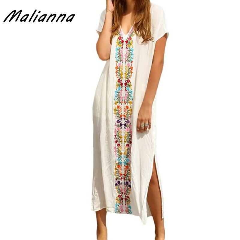 2017 summer women beach long boho white v neck short for Dress shirt monogram placement