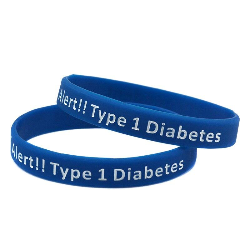 Promo Gift 50PCS/Lot Medical Alert Type 1 Diabetes Insulin Dependent Silicone Wristband Bracelet for Emergency