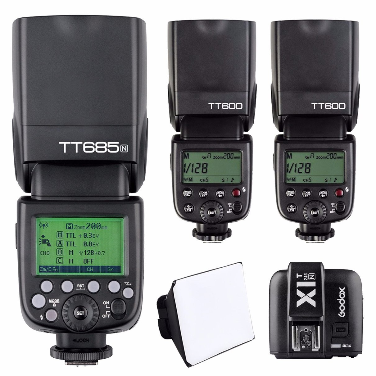 Godox TT685N TTL HSS Speedlite Flash For Nikon +2x TT600 flash for nikon DSLR camera + X1T-N 2.4G Transmitter trigger godox v860ii n v860iin gn60 i ttl hss 1 8000s speedlite flash w li ion battery x1t n flash transmitter optional for nikon